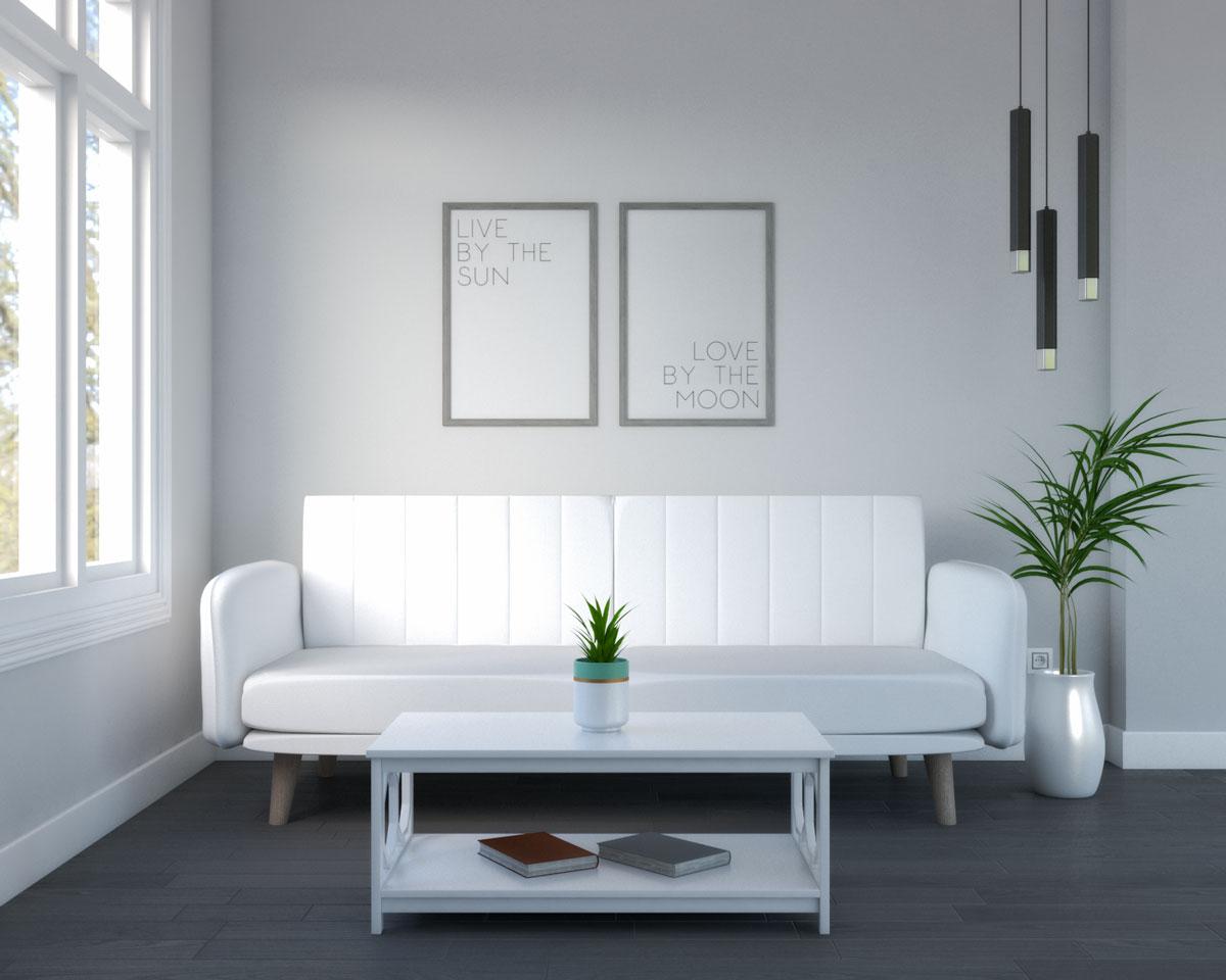 Living room with dark gray hardwood flooring