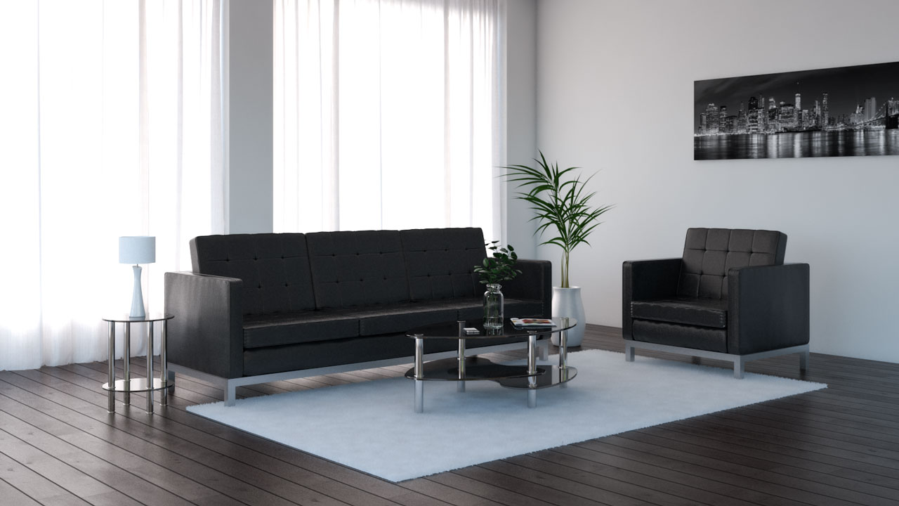 Solid plain white rug with black furniture and black sofa