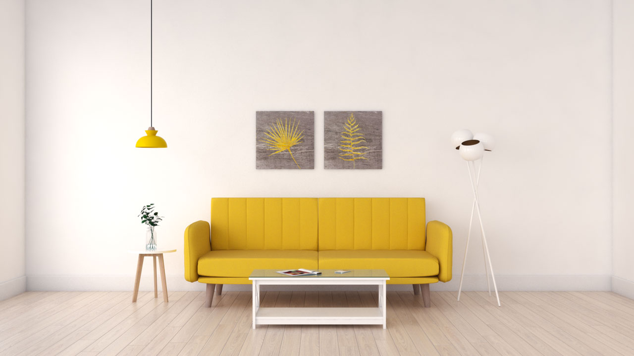 Simple white walls with yellow decor