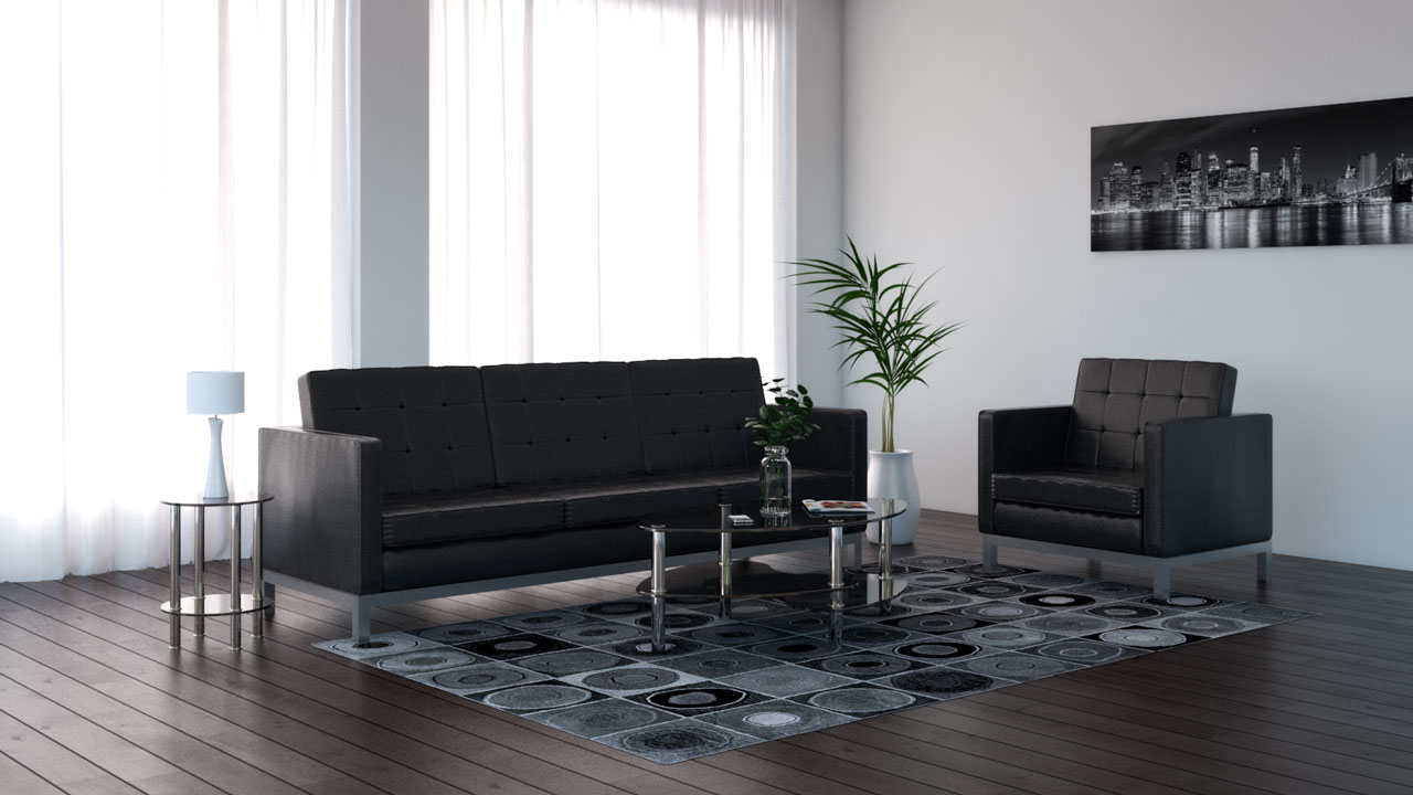 Black and gray rug with black furniture