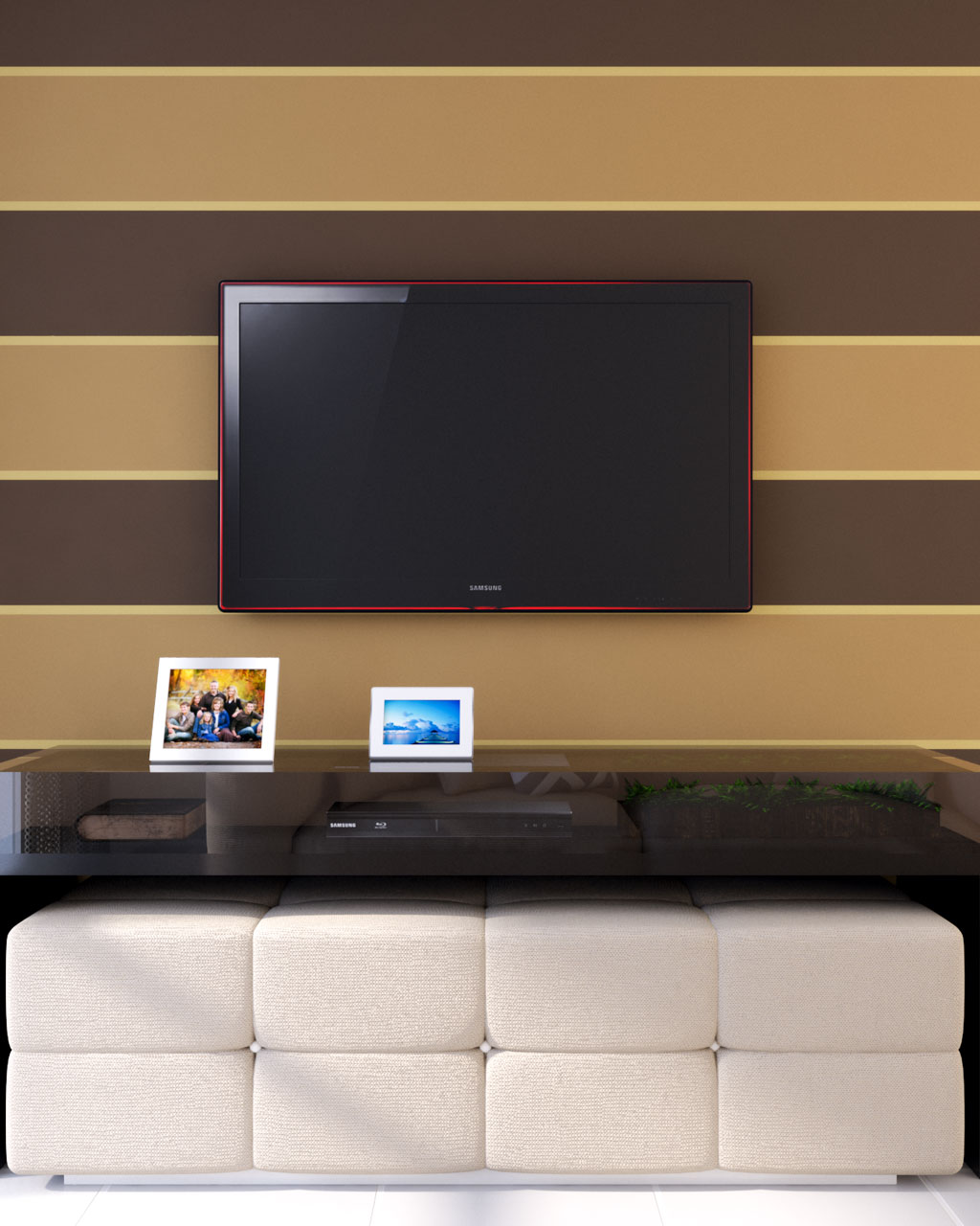 Brown and gold horizontal striped wallpaper accent wall