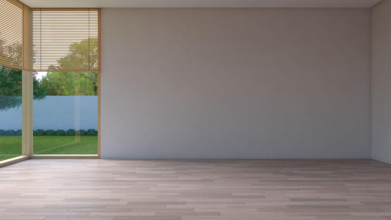 Light brown wood floor with tan walls