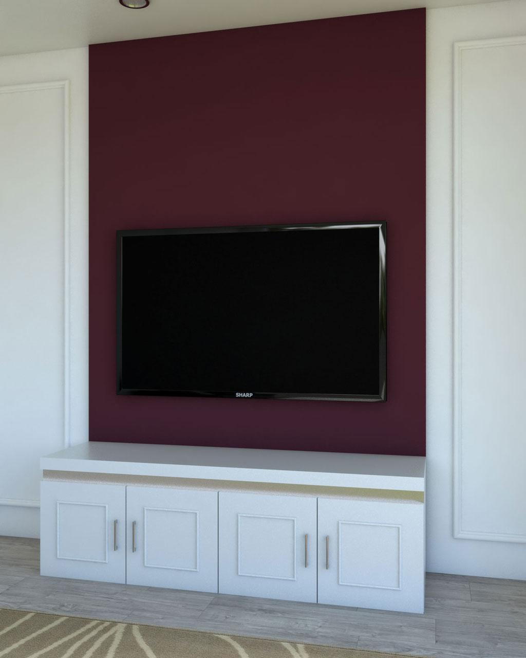 Glamorous burgundy accent wall ideas behind flat screen tv