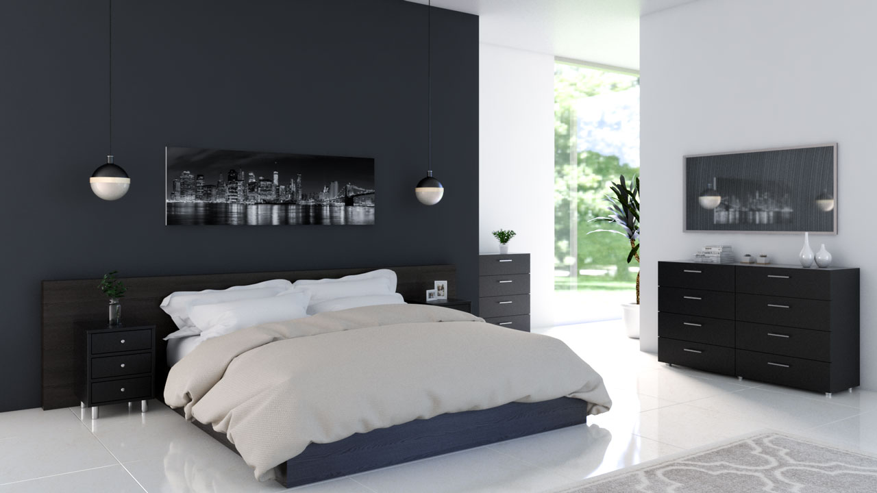 Charcoal accent wall with black furniture