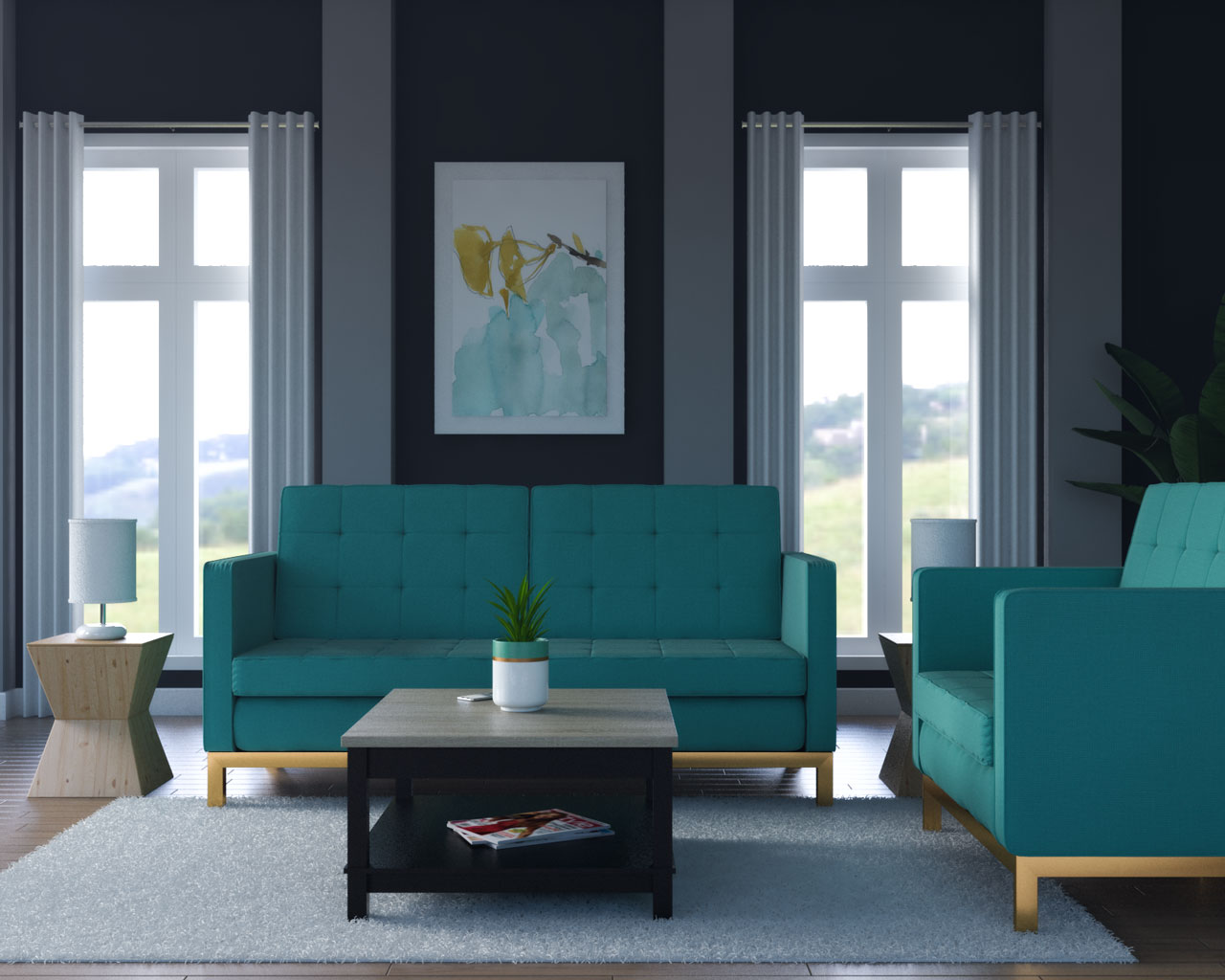 Charcoal walls with teal sofa