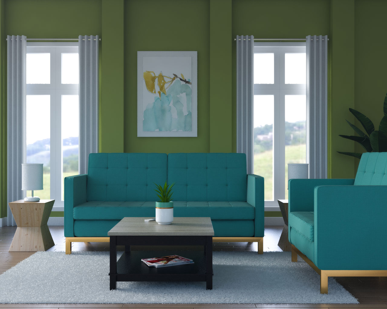 Chartreuse wall with teal furniture