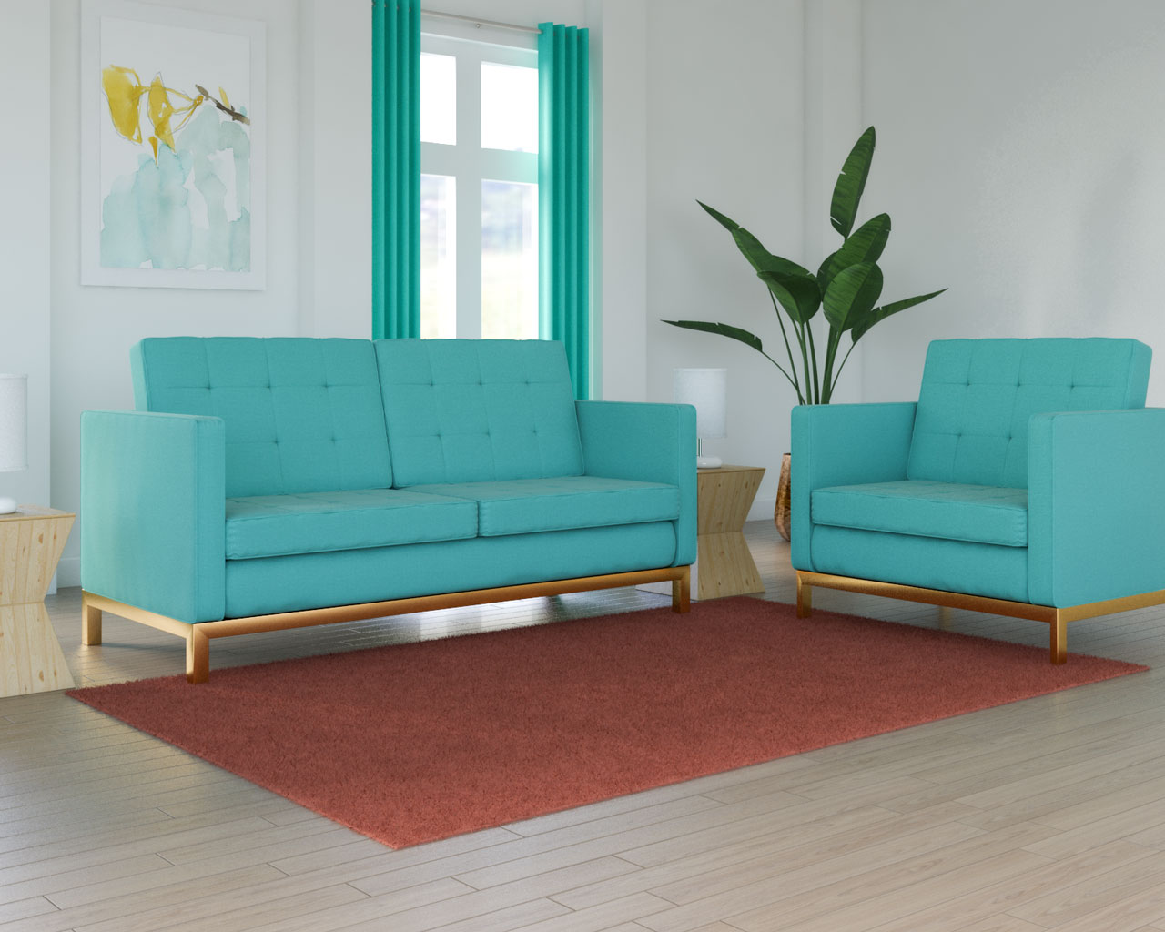 Coral rug with teal couch