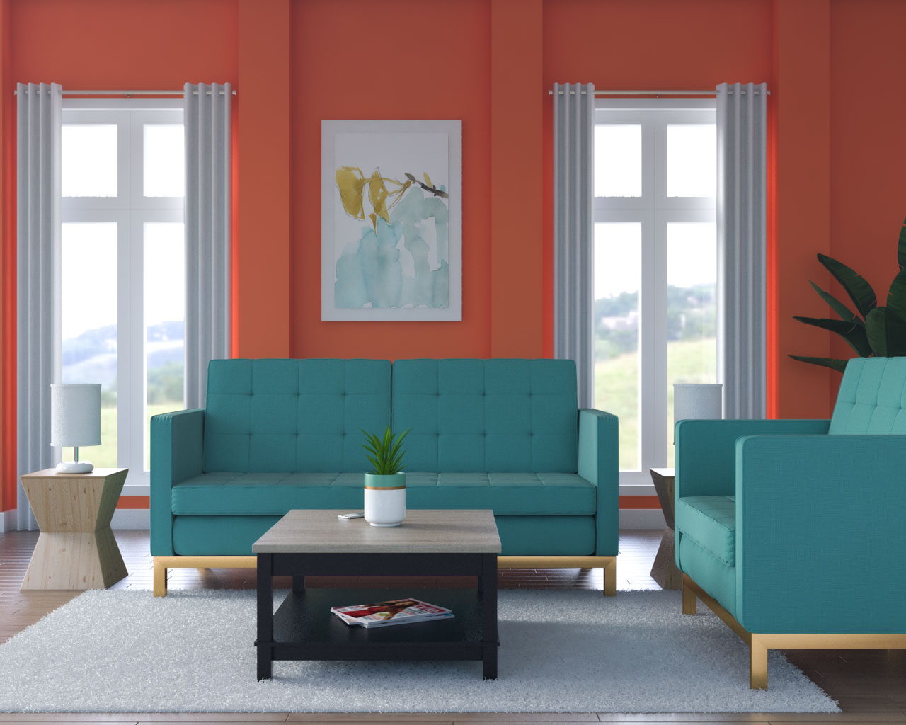 Coral and teal living room ideas
