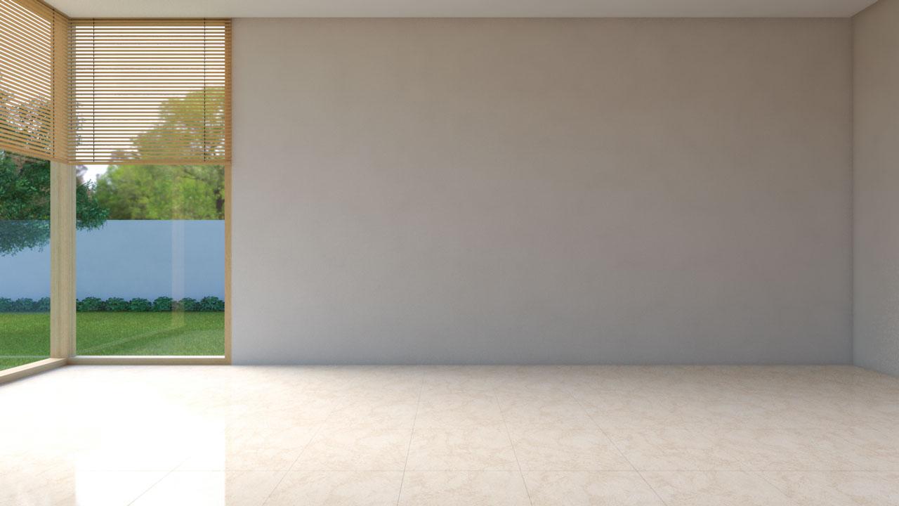 Cream tile flooring with tan walls