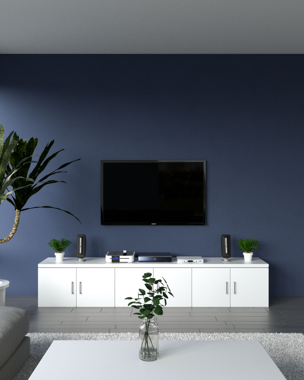 Navy blue accent wall ideas behind wall mounted tv