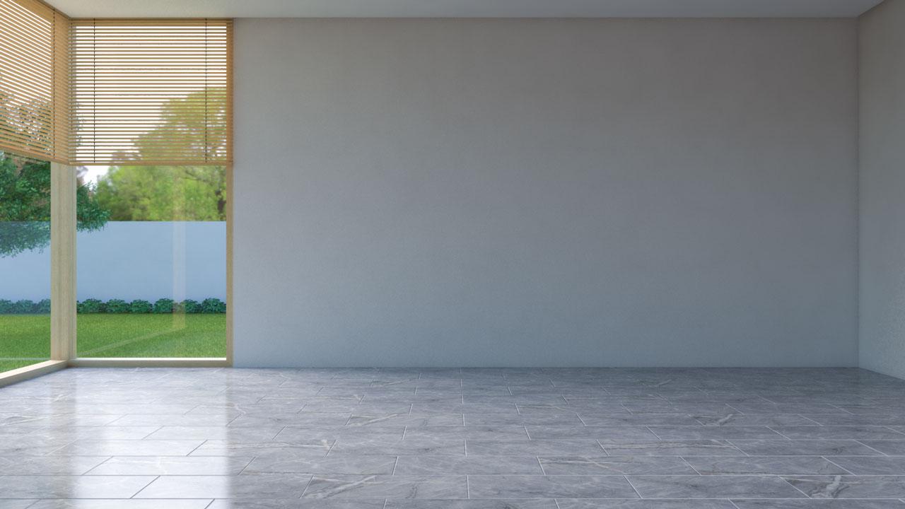 Gray tile flooring with tan walls