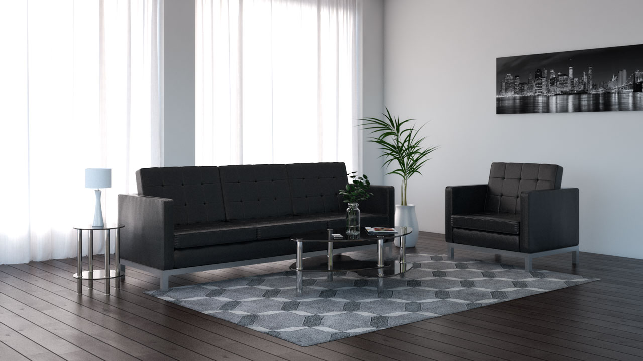 Gray rug with black couch