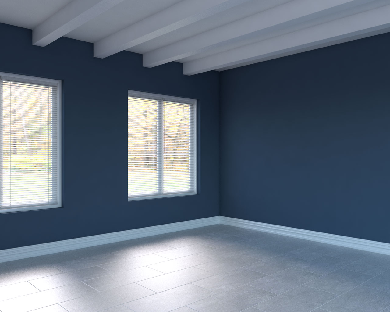 Gray tile with blue walls