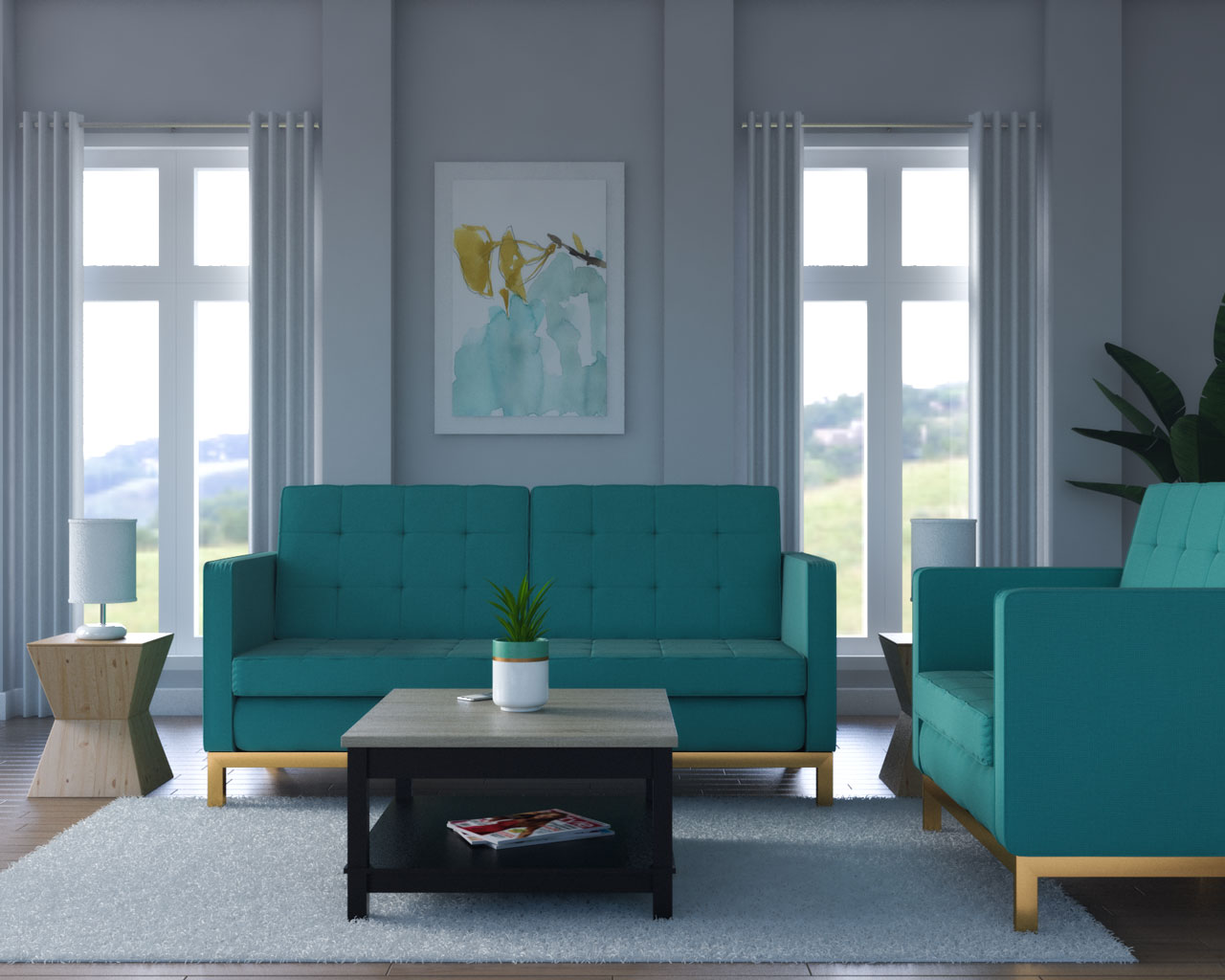 Gray walls with teal decor