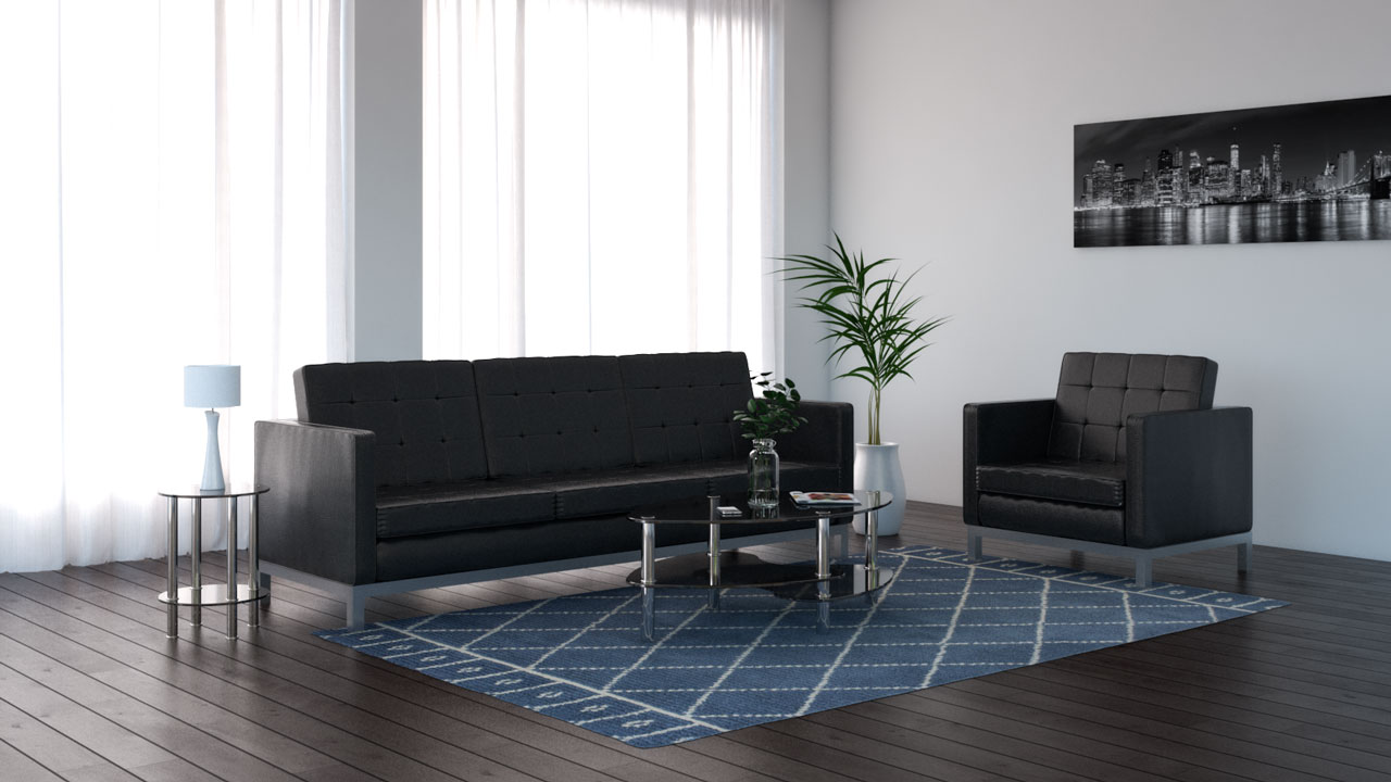 Bluish gray rug with black furniture