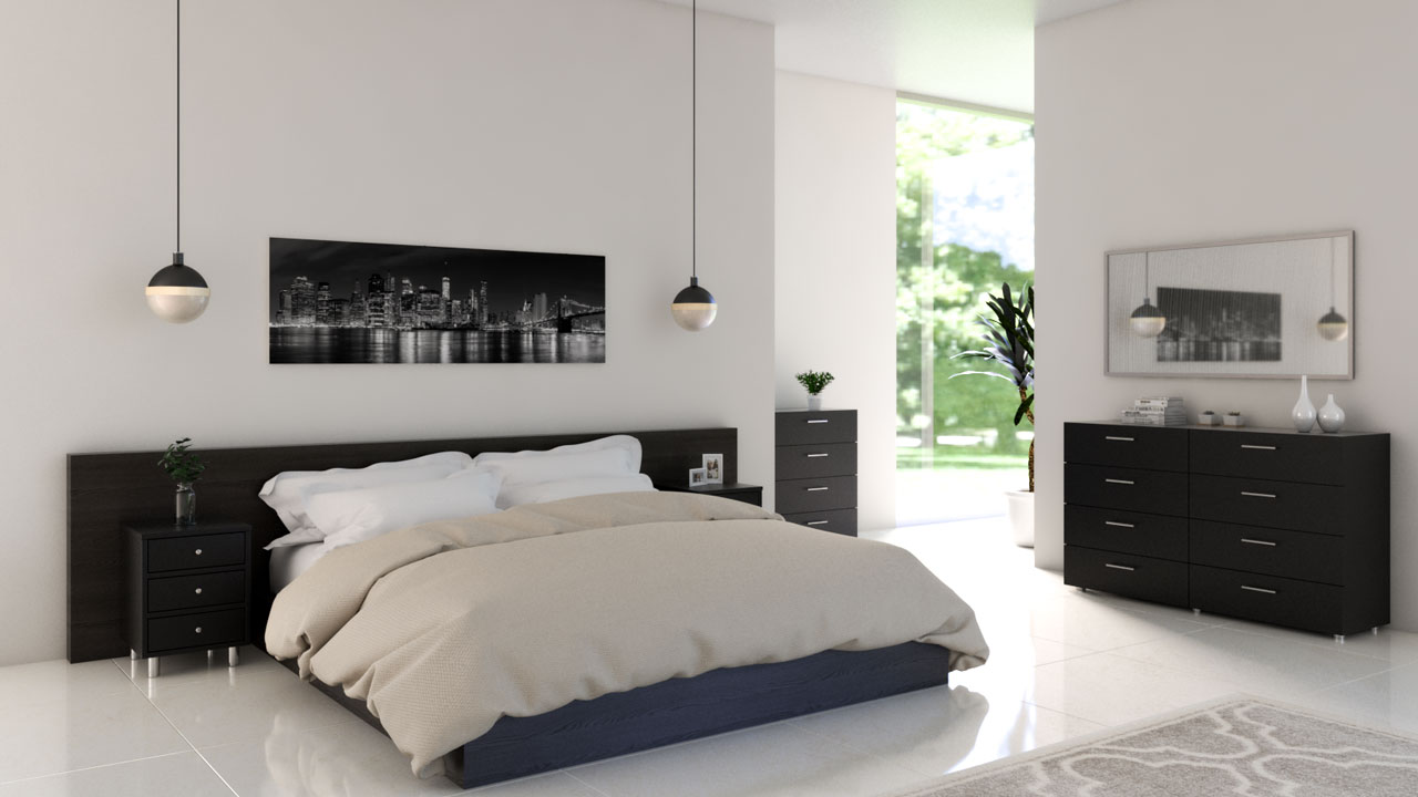 Ivory white bedroom with black furniture