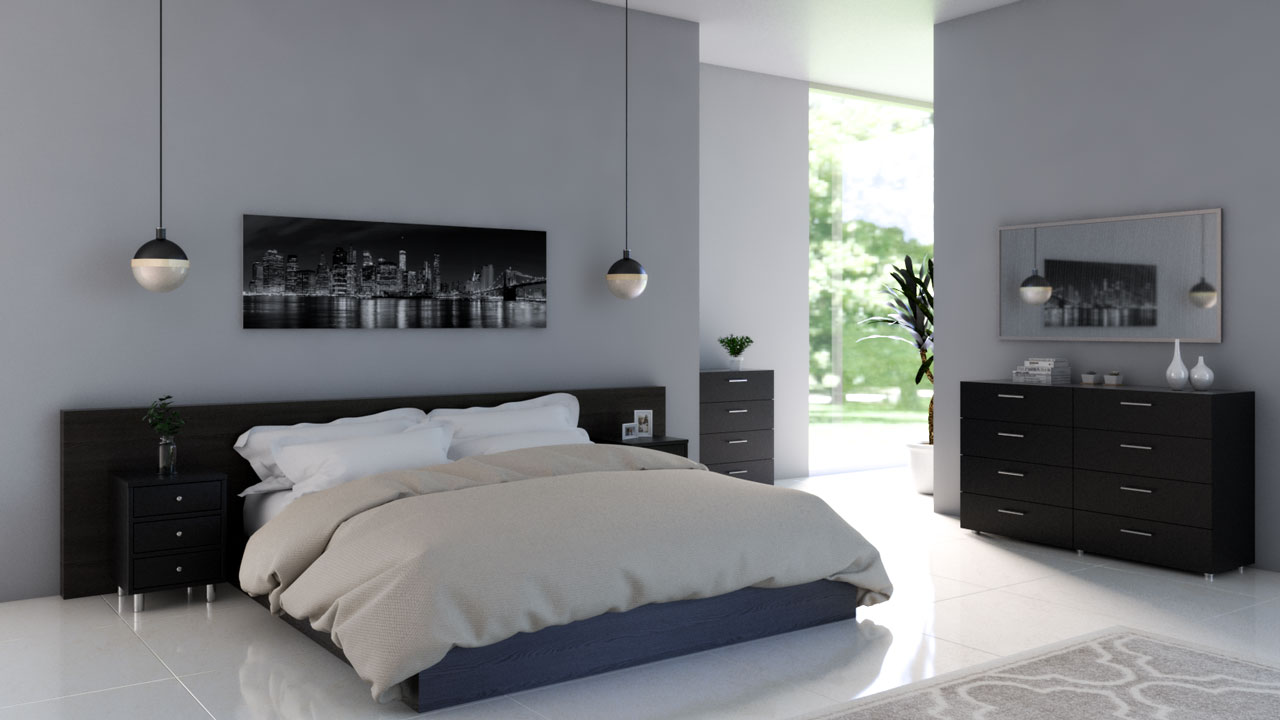 Light gray bedroom walls with black furniture