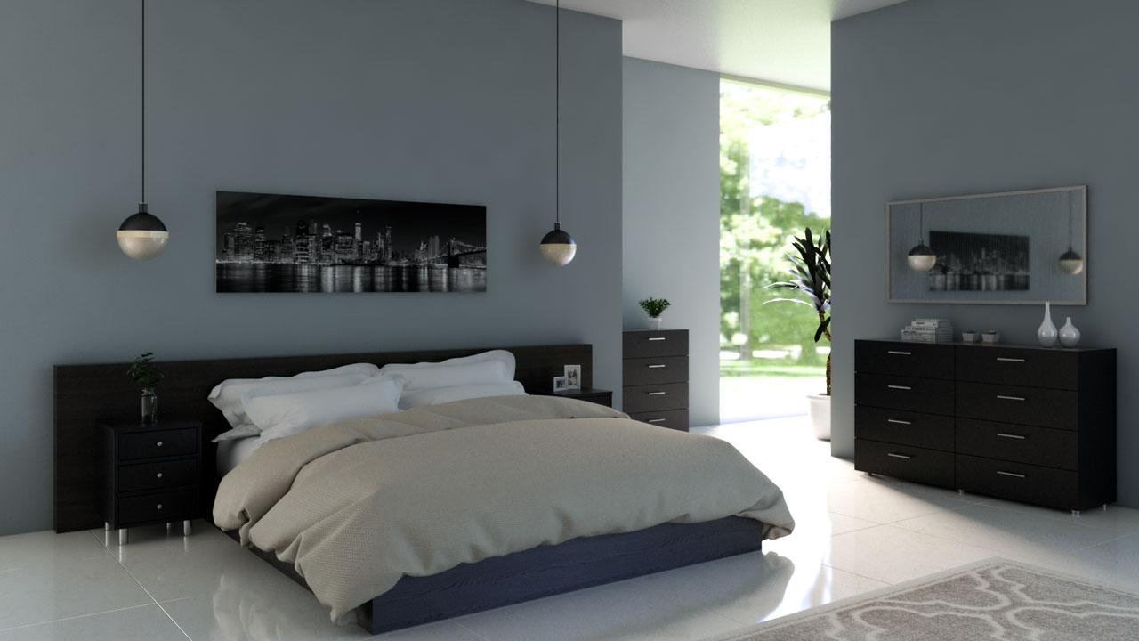 Steel blue bedroom with black furniture