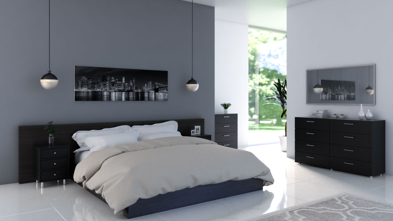 Dark gray bedroom accent wall with black decoration