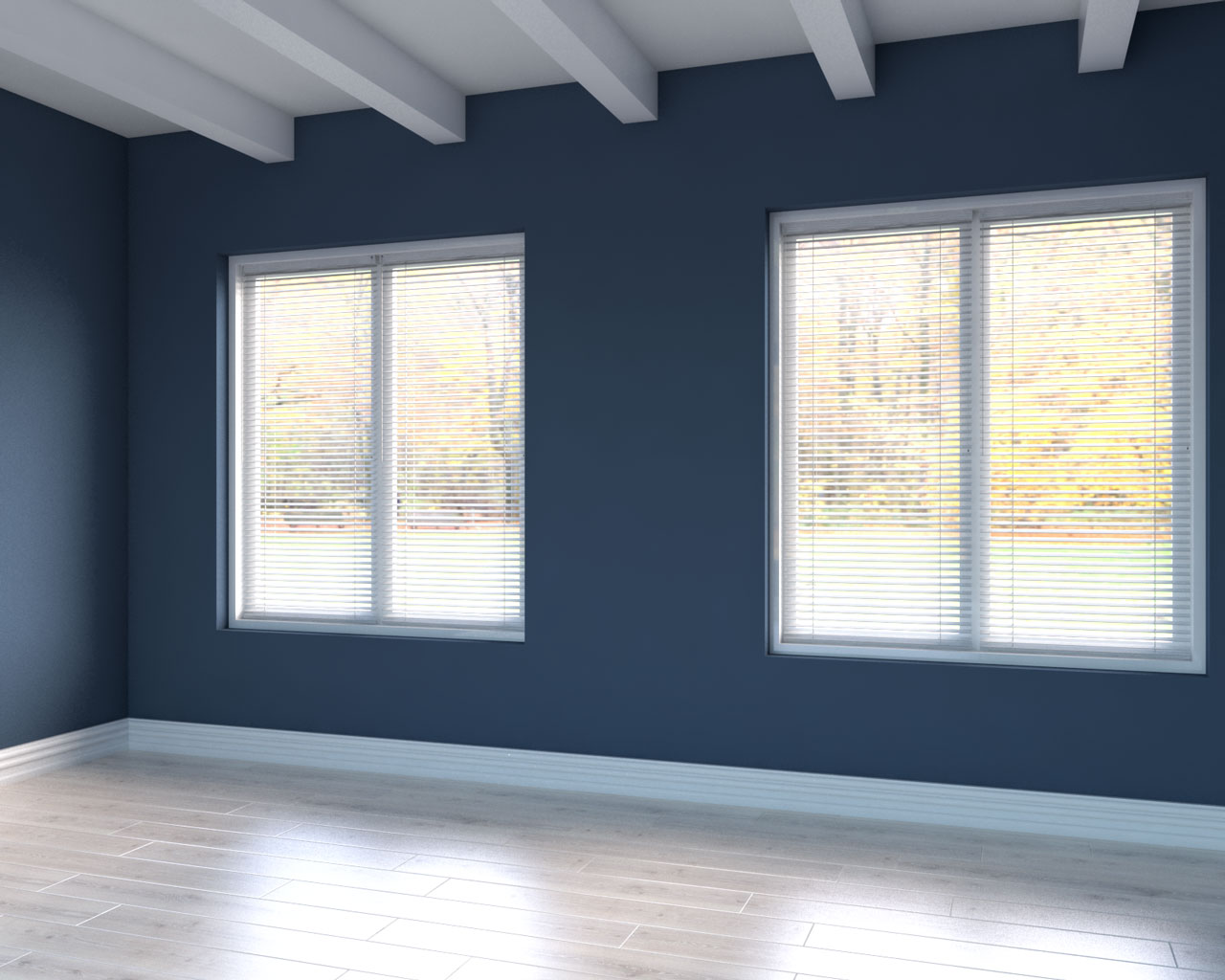 Natural cream wood flooring with blue wall ideas
