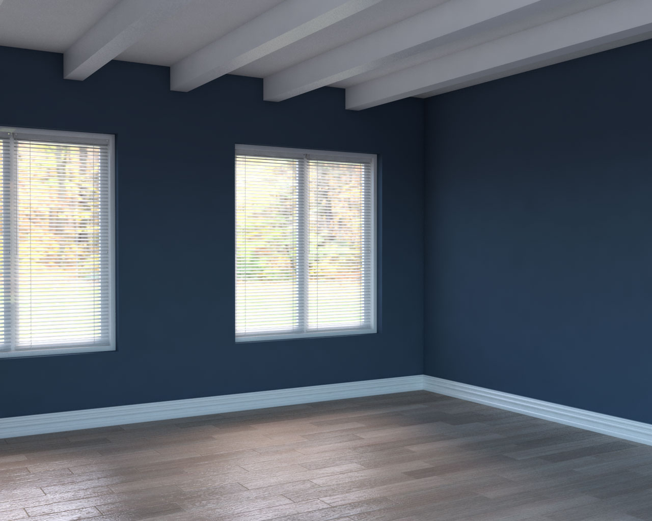Natural brown flooring with blue walls
