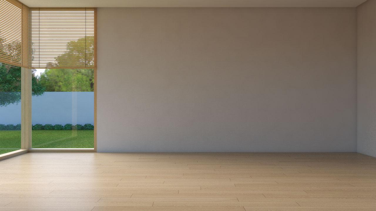 Medium natural wood floor with tan walls