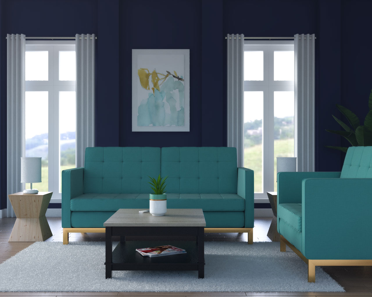 Navy blue walls with teal couch