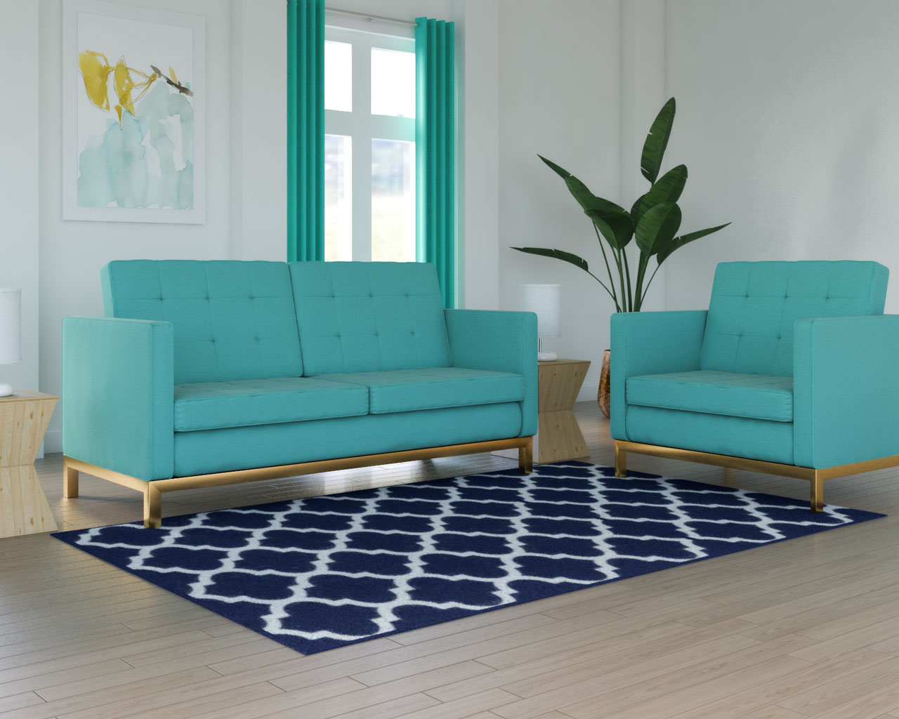 What color rug with teal couch : Navy blue