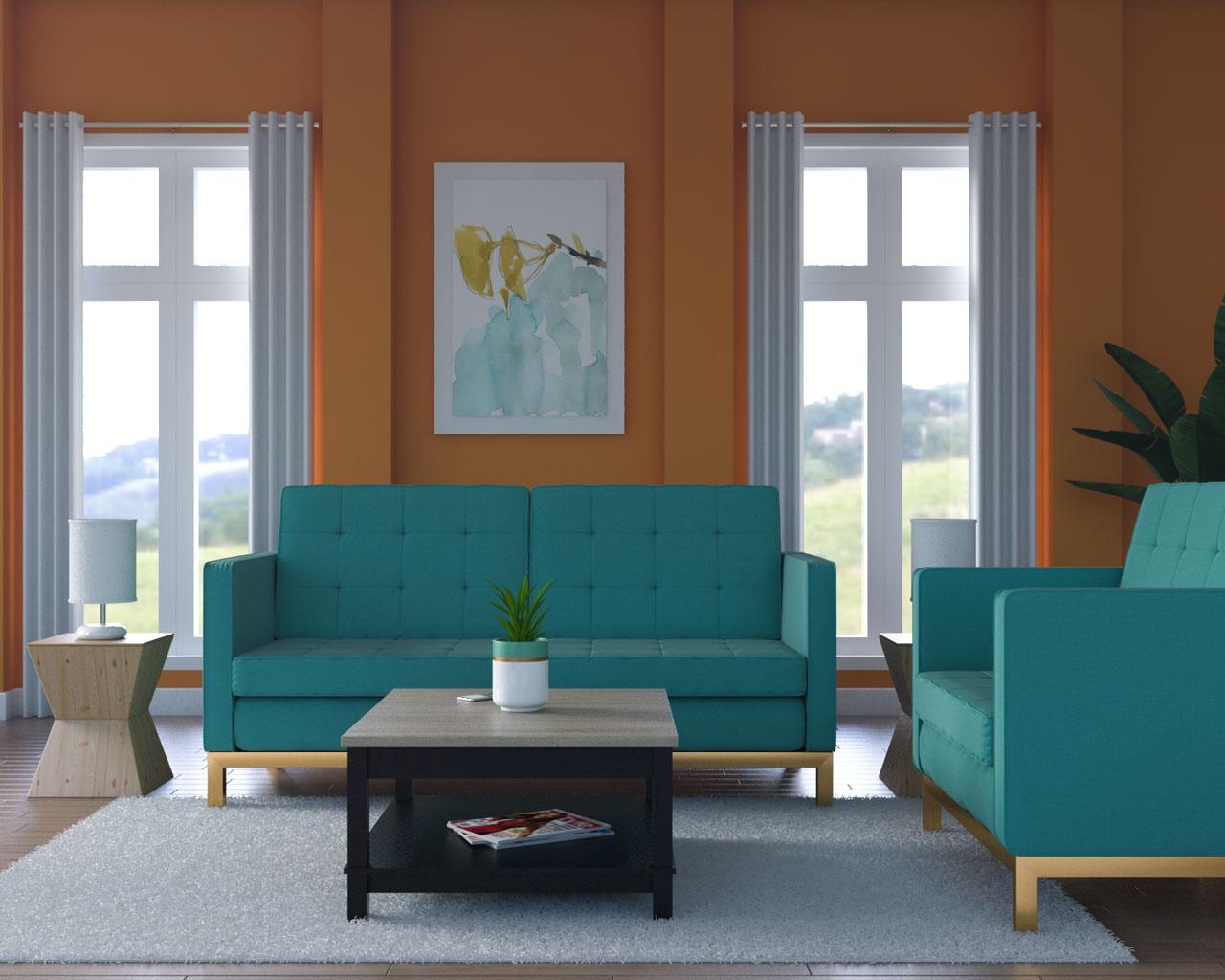 Orange walls with teal furniture