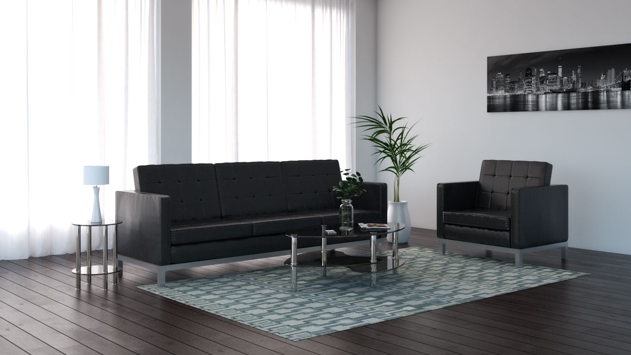 Pale green rug with black furniture