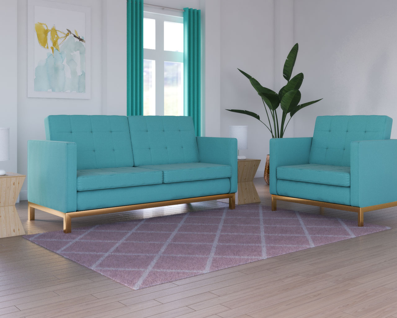 Pink rug with teal couch