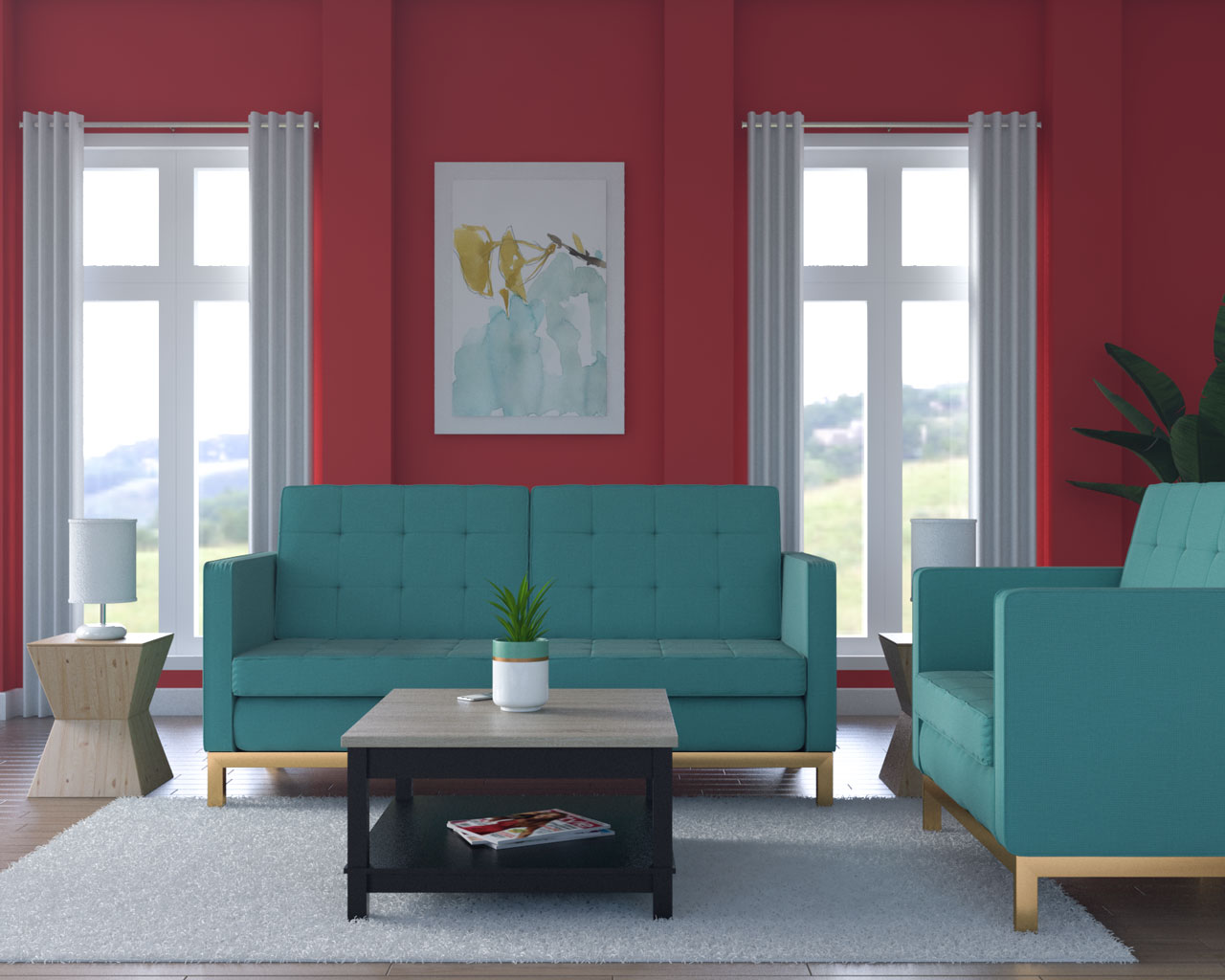 Red walls with teal furniture