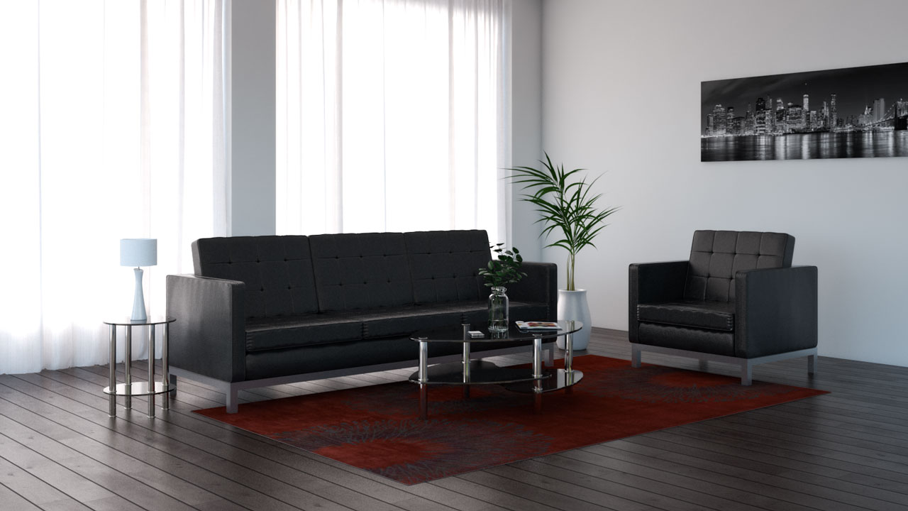 Dark red rug with black sofa