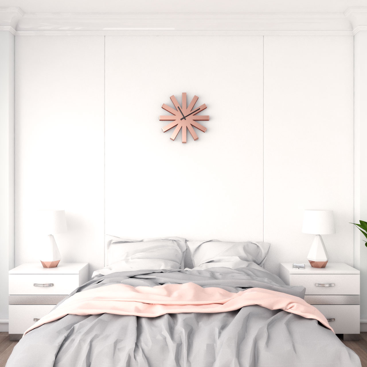 Rose gold wall clock to decorate bedroom wall