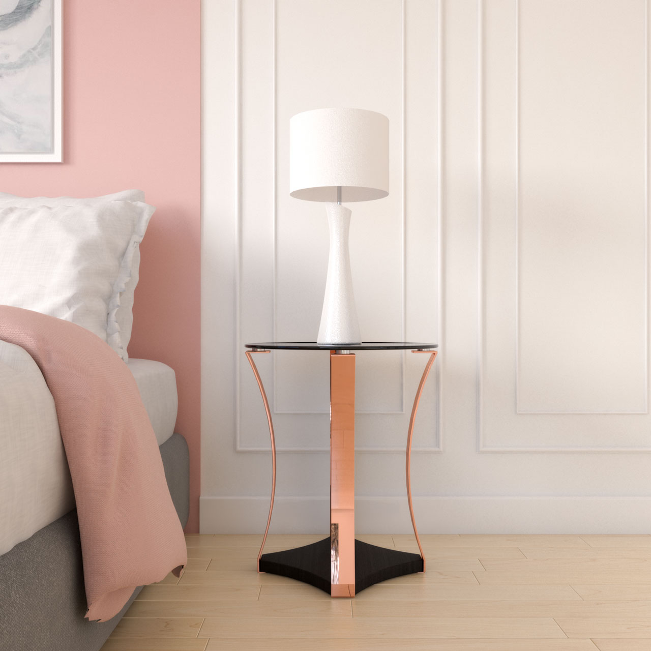 Elegant black and rose gold nightstand