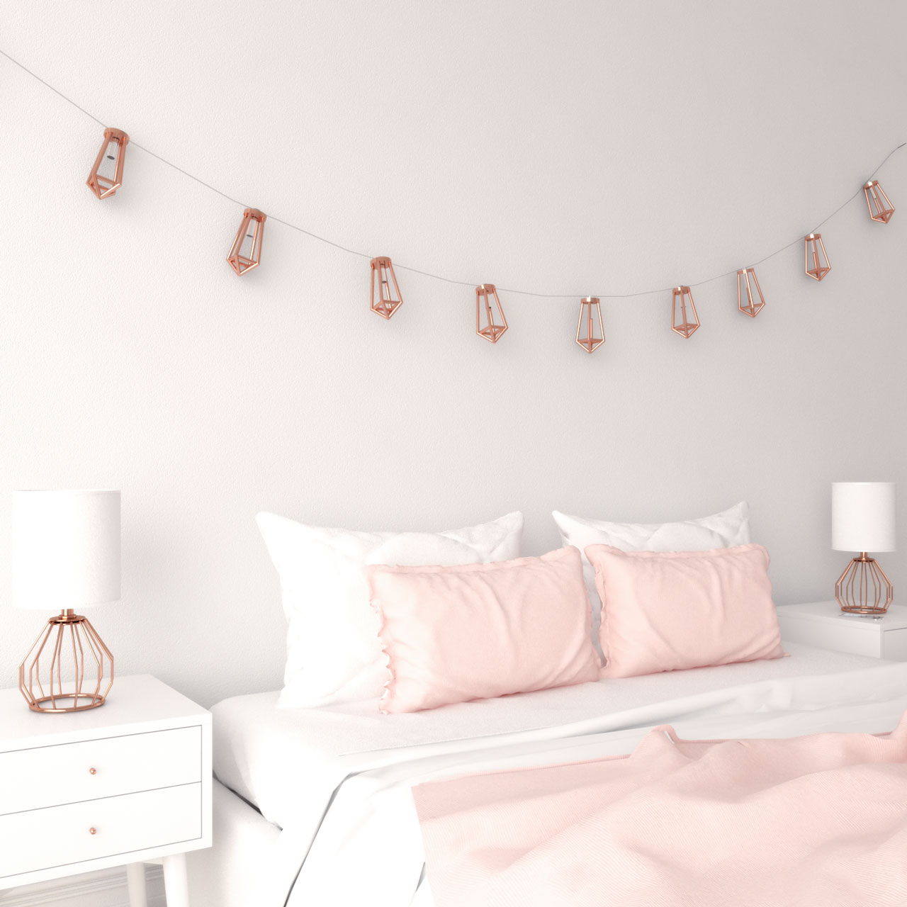 Rose gold string light decor ideas for bedroom