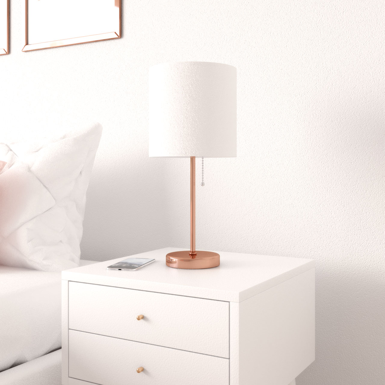 Rose gold decor ideas using rose gold table lamp