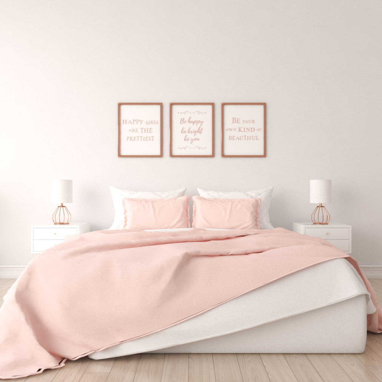 Rose gold wall art for bedroom