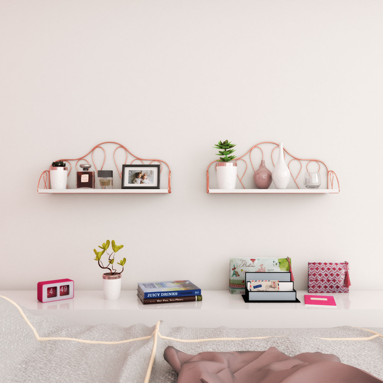 Rose gold and white wall shelves