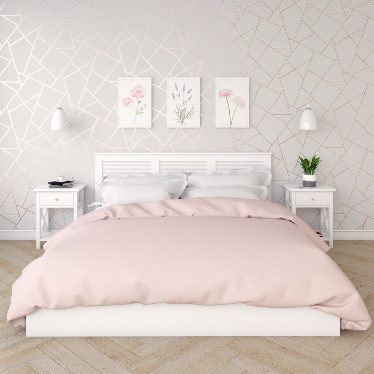 Rose gold bedroom wallpaper ideas