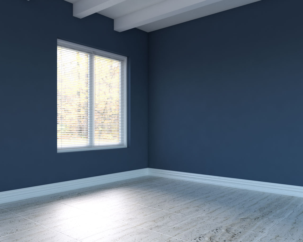 Silver travertine floor with blue walls