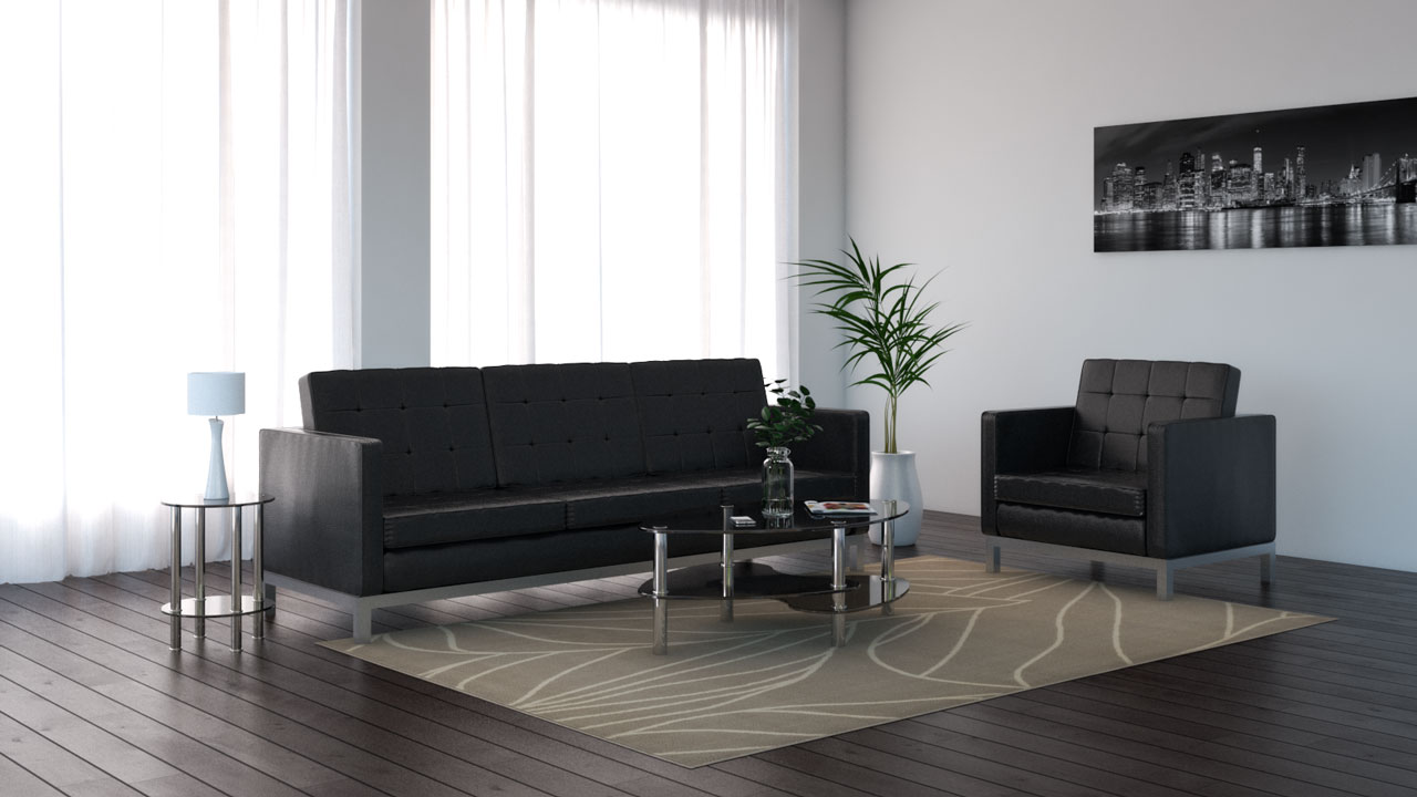 Tan rug with black living room decor