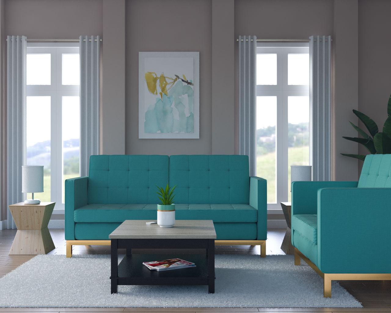 Tan walls with teal furniture