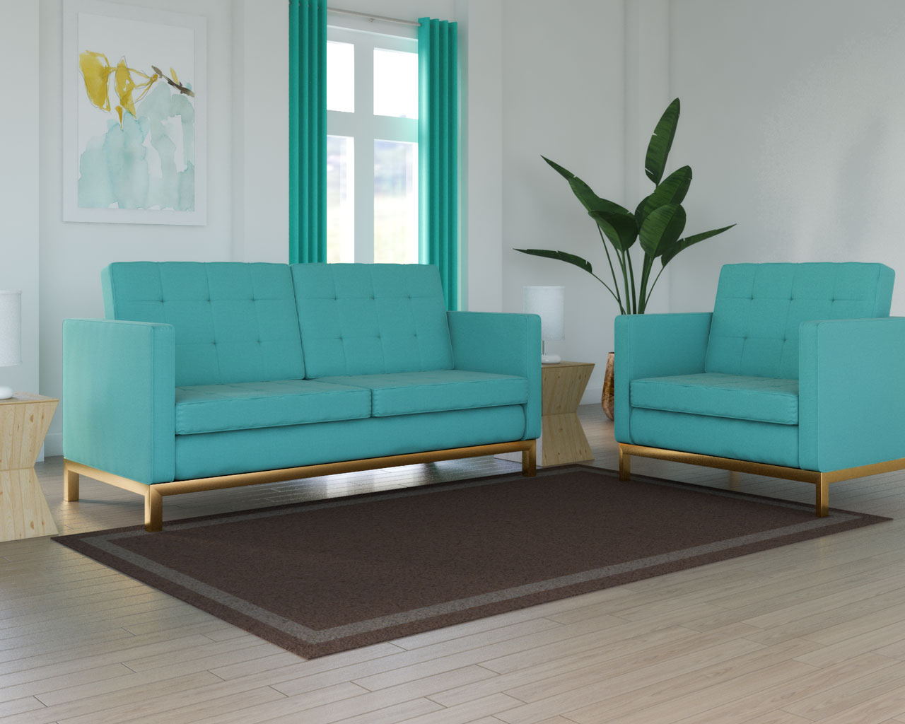 Brown rug with teal couch