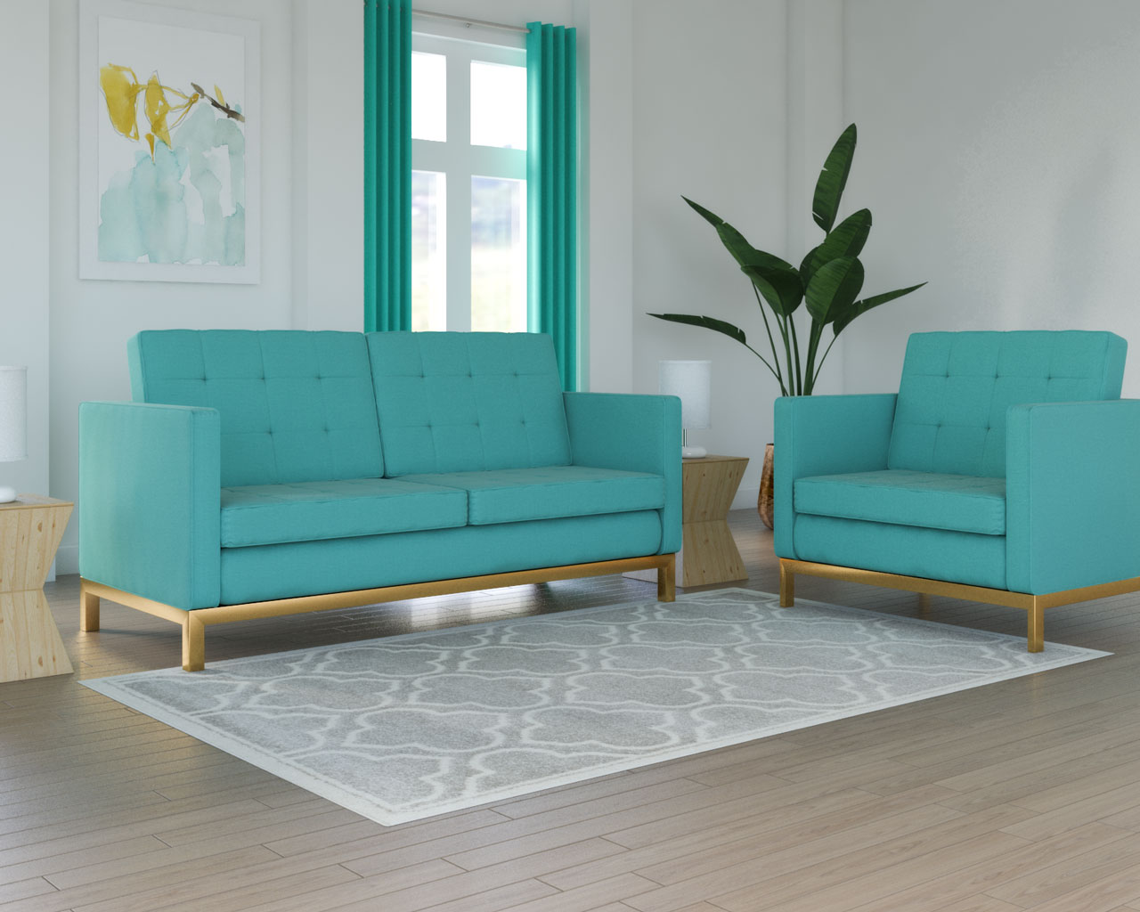 Cream rug with teal couch