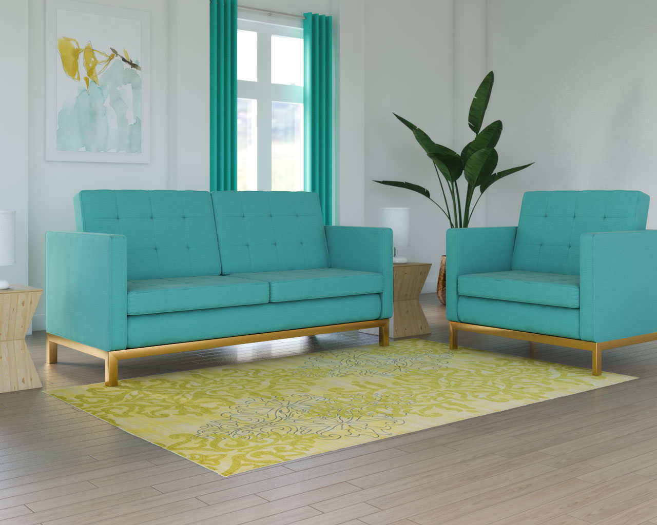 Pale yellow rug with teal sofa
