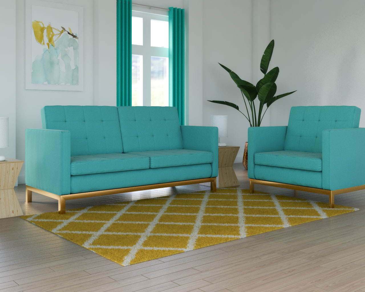 Yellow rug with teal couch