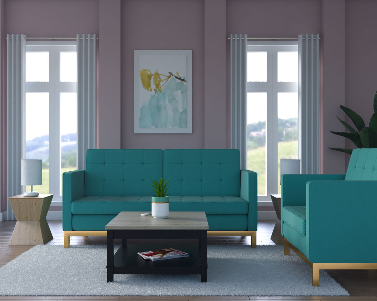 Dusty pink wall with teal couch