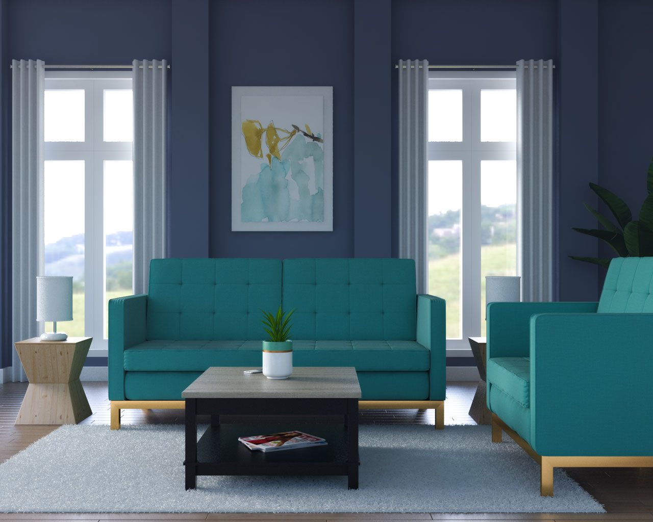 Grayish blue wall with teal couch