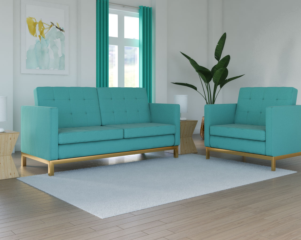 White rug with teal sofa